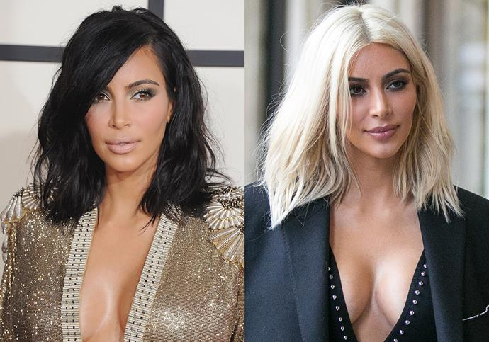 "***Kim Kardashian***<br><br> Back in 2015, Kim Kardashian caused quite the stir when she debuted white-blonde hair in Paris. It was later revealed to be for Kanye West, who 'loves blonde hair.'<br><br> ""I think for two years before Kim had her platinum coming out party in Paris, Kanye was obsessed with my color and style,"" said Kardashian's makeup artist Joyce Bonelli, who sports platinum blonde hair. ""[Kanye] said to Kim, 'I want you to do Joyce's hair. It would be so dope—just for the weekend.'"""