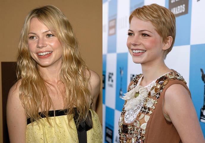 "***Michelle Williams*** <br><br> In 2006, Michelle Williams made headlines when she cropped her long blonde hair into her now-signature pixie. She told *ELLE* in 2011: ""I cut it for the one straight man who has ever liked short hair and I wear it in memorial of somebody who really loved it."""