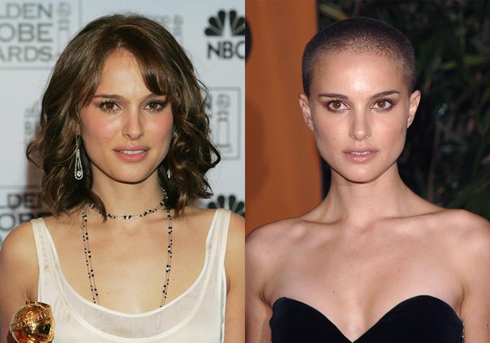 ***Natalie Portman***<br><br> At the height of her *Star Wars* fame in 2005, Natalie Portman shocked fans by shaving her head completely for *V for Vendetta*.
