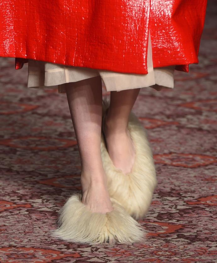 Simone Rocha's statement-making furry heels were the talk of London Fashion Week fall 2018—although they don't look like they'd be the easiest to keep clean in the street.