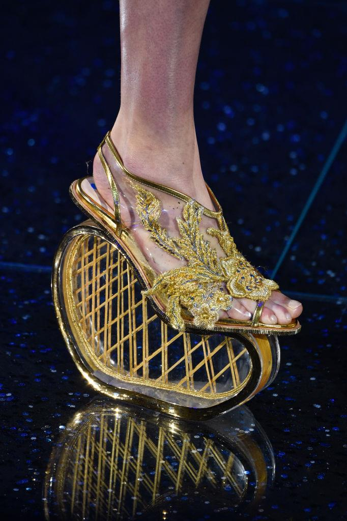 We can't quite imagine shuffling through a crowded train carriage in these couture Guo Pei spring/summer 2018 shoes, but they would certainly make a stunning conversation piece.