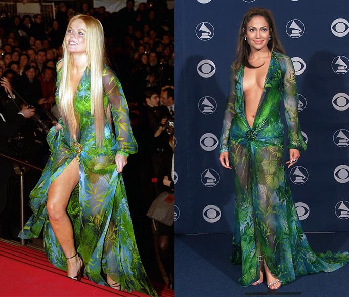 ***Jennifer Lopez's Versace dress***<br><br> It's hard to think of a dress more iconic than Jennifer Lopez's jungle-printed Versace gown. In fact, it's so iconic, it was literally the reason Google Images was invented. But few know that Spice Girl Geri Halliwell also stepped out in it a month before JLo did.