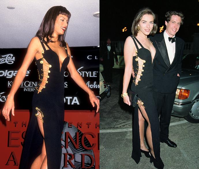 **Elizabeth Hurley's safety-pin dress**<br><br> When you think of the name 'Liz Hurley,' you think of this Versace dress. But did you know it was also worn by model Veronica Webb in 1994?