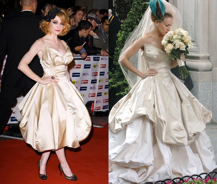***Carrie Bradshaw's Vivienne Westwood wedding dress***<br><Br> As far as iconic movie looks go, Carrie Bradshaw's ivory Vivienne Westwood gown is right up the top. Singer Nicola Roberts also gave it (albeit, a shorter version) a go in 2009.
