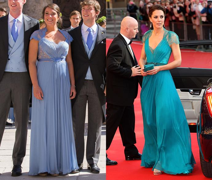 **Kate Middleton's Jenny Packham gown**<br><br> One of her most successful and loved 'princess looks,' Kate Middleton has actually worn this Jenny Packham gown twice. Another royal who stepped out in it? Princess Alexandra of Luxembourg.