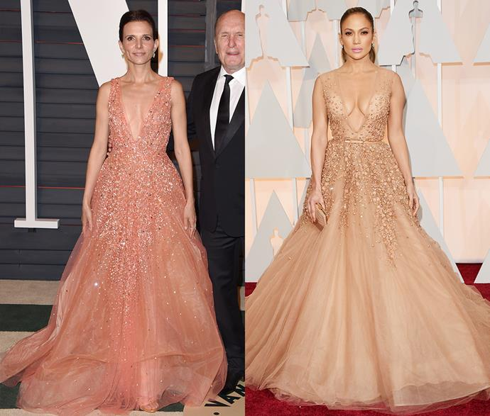 **Jennifer Lopez's Elie Saab princess moment**<br><br> It's one thing for someone else to wear your dress, it's quite another to wear at the *same event.* But that's what happened to Jennifer Lopez and Luciana Pedraza. Heralded as one of JLo's most successful Oscars looks, Pedraza wore it in a peach tone.