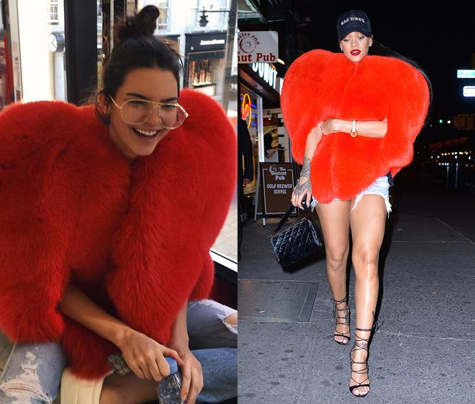 """***Rihanna's heart-shaped jacket***<br><br> This heart-shaped jacket by Saint Laurent was one of Rihanna's most viewed street-style moments. Kendall Jenner was also spotted wearing it, months later although she was happy to note, """"Rihanna wore it best, for the record."""""""