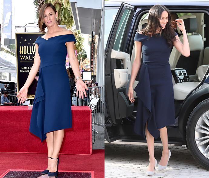 ***Meghan Markle's Roland Mouret dress***<br><br> When she stepped out of the car at Cliveden House as 'Ms Meghan Markle' for the very last time, only to graduate to 'Meghan, Duchess of Sussex' the next morning, Meghan Markle wore this navy Roland Mouret dress. The waterfell dress with off-the-shoulder straps quickly became one of the most Googled and Pinterested looks. <br><br> Jennifer Garner also gave it a go, three months later.