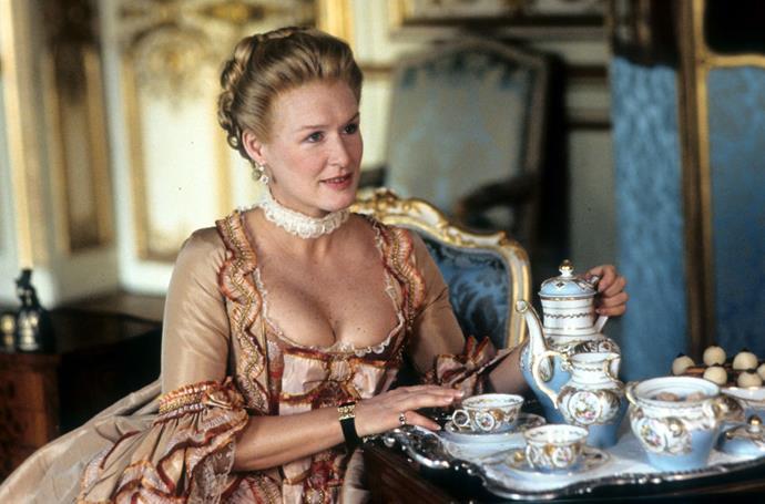 Glenn Close as Marquise de Merteuil in *Dangerous Liasons*.<br><br>