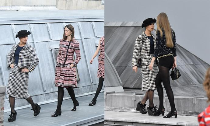 **1. The runway crasher at Chanel spring/summer '20** <br><br> Chanel spring/summer '20 was one of the most anticipated shows of the season, but became notorious after French YouTuber Marie Benoliel crashed the show and walked the runway (only to be briskly escorted off by Gigi Hadid). While Benoliel's stunt was unexpected, it's made her a major player for anyone seeking a fashion-inspired Halloween costume this year.