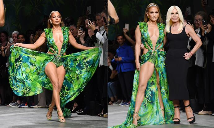 **2. Jennifer Lopez at Versace spring/summer '20** <br><br> In 2000, Jennifer Lopez wore a scandalous Versace gown that led to the creation of Google Images, and in 2019, she replicated the moment in a similar ensemble at Versace's spring/summer '20 show. This year, plenty of partygoers will try to embody the iconic dress for Halloween—and if you like daring fashion, you should too.
