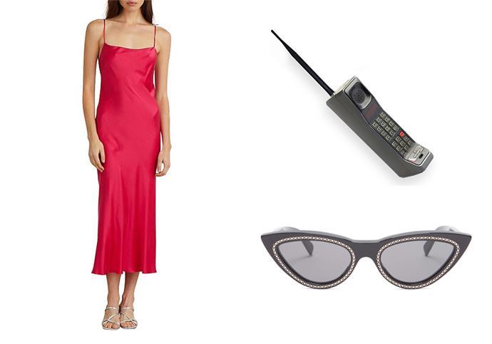 "***Channel the look:*** <br><br> Classic Midi Dress by Bec & Bridge, $179 at [David Jones](https://www.davidjones.com/Product/22395042|target=""_blank""|rel=""nofollow"") <br> Crystal-embellished cat-eye sunglasses by Celine, $730 at [MATCHESFASHION](https://www.matchesfashion.com/au/products/1269572|target=""_blank""|rel=""nofollow"") <br> Motorola 'Brick'-style phone, $125 at [eBay](https://www.ebay.com.au/itm/OLD-VINTAGE-90s-MOTOROLA-MICRO-TRC-1-888-7500-FLIP-CELL-PHONE-BRICK-ERA-CASE/183818277169?hash=item2acc6c5131:g:nXUAAOSw04Vc4oqF|target=""_blank""|rel=""nofollow"")"
