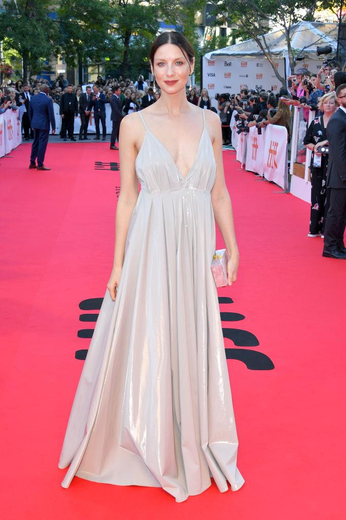 Catriona Balfe wearing a gown from Paris Georgia's bridal collection at the Toronto Film Festival in September 2019.