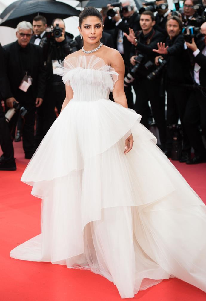 Priyanka Chopra Jonas wearing a gown from Georges Hobeika's Spring 2020 Bridal Collection at the Cannes Film Festival in May 2019.