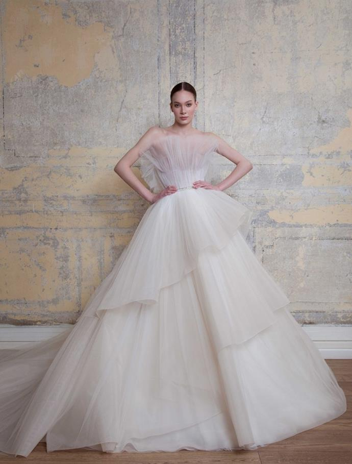 "'Look 2' wedding dress from Georges Hobeika's Spring/Summer 2020 Bridal collection, available [here](https://georgeshobeika.com/collection/bridal-bridal-spring-summer-2020/|target=""_blank""