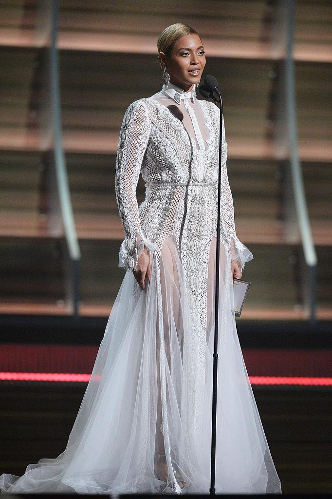 Beyoncé wearing a wedding dress from Inbal Dror's Fall 2016 collection at the 2016 Grammy Awards.