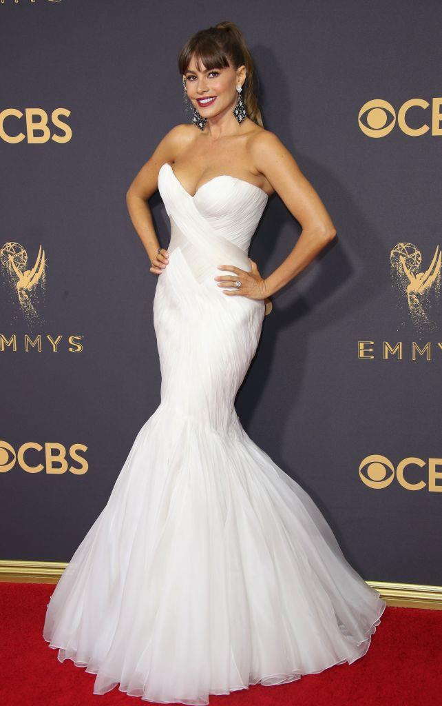 Sofia Vergara wearing a mermaid gown by Mark Zunino to the 2017 Emmy Awards.