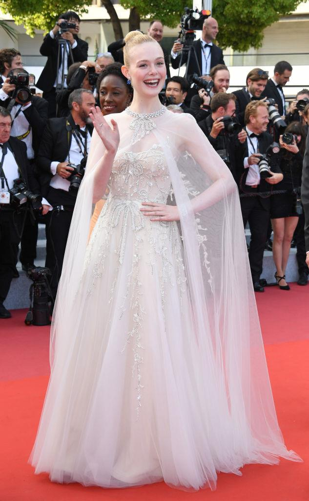 Elle Fanning wearing a gown from Reem Acra's Fall 2019 Bridal collection to the Cannes Film Festival in May 2019.