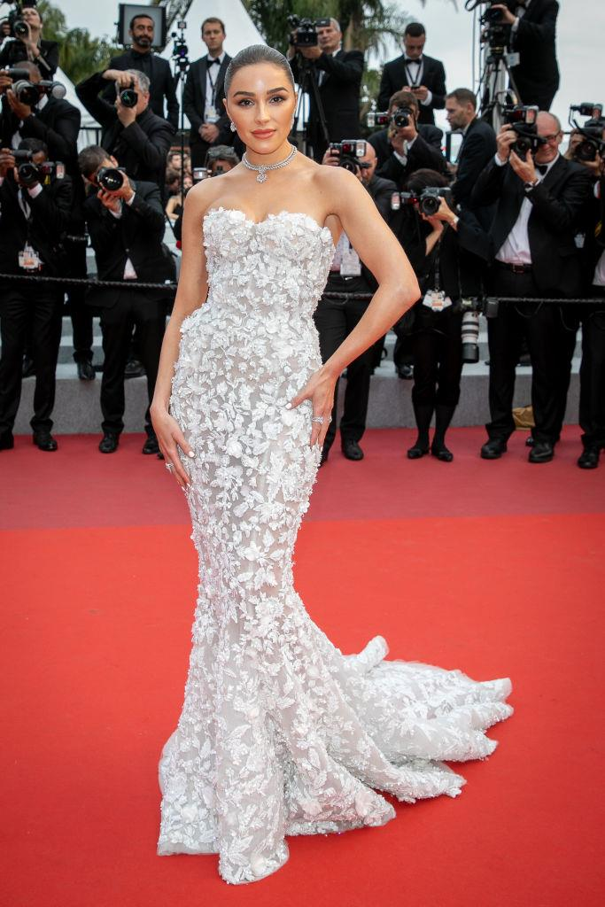 Olivia Culpo wearing the bridal look from Ralph & Russo's Fall 2016 Couture collection at the Cannes Film Festival in May 2019.