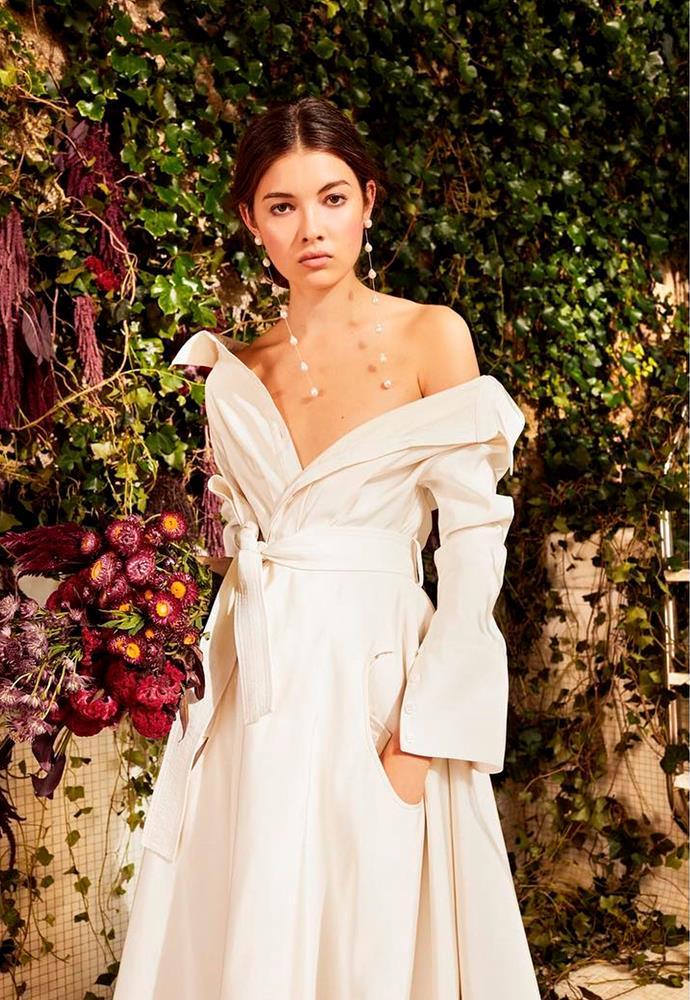 "'Lou' off-the-shoulder cotton-blend poplin gown by Danielle Frankel, $6,201.71 from [NET-A-PORTER](https://www.net-a-porter.com/au/en/product/1066178/Danielle_Frankel/lou-off-the-shoulder-cotton-blend-poplin-gown|target=""_blank""|rel=""nofollow"")."