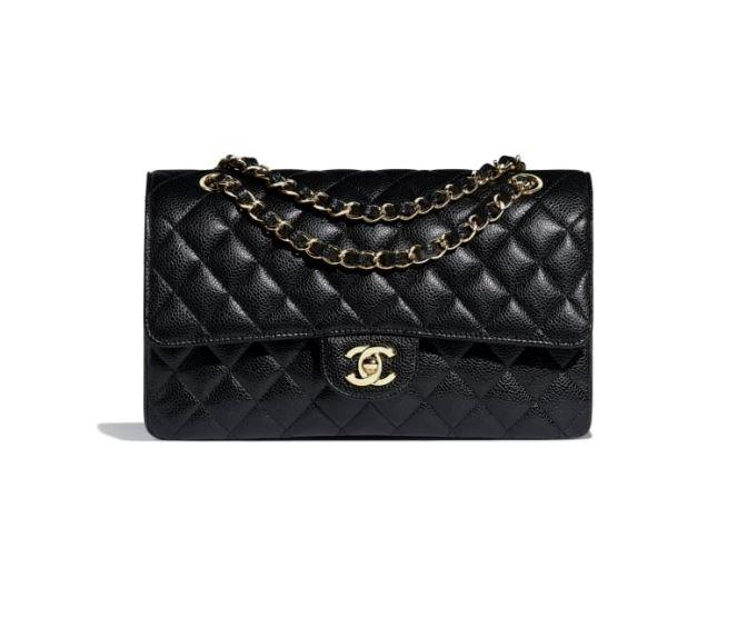 "***A black CHANEL handbag***<br><br>  Classic Handbag in grained calfskin and gold-tone metal by CHANEL, $8,010 from [CHANEL](https://www.chanel.com/en_AU/fashion/p/hdb/a01112y01864/a01112y01864c3906/classic-handbag-grained-calfskin-goldtone-metal-black.html|target=""_blank""