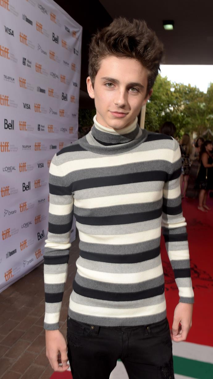 Celebrating the start of turtleneck season at the Toronto International Film Festival (where Chalamet is now a better-dressed regular—stay tuned) on September 6, 2014.