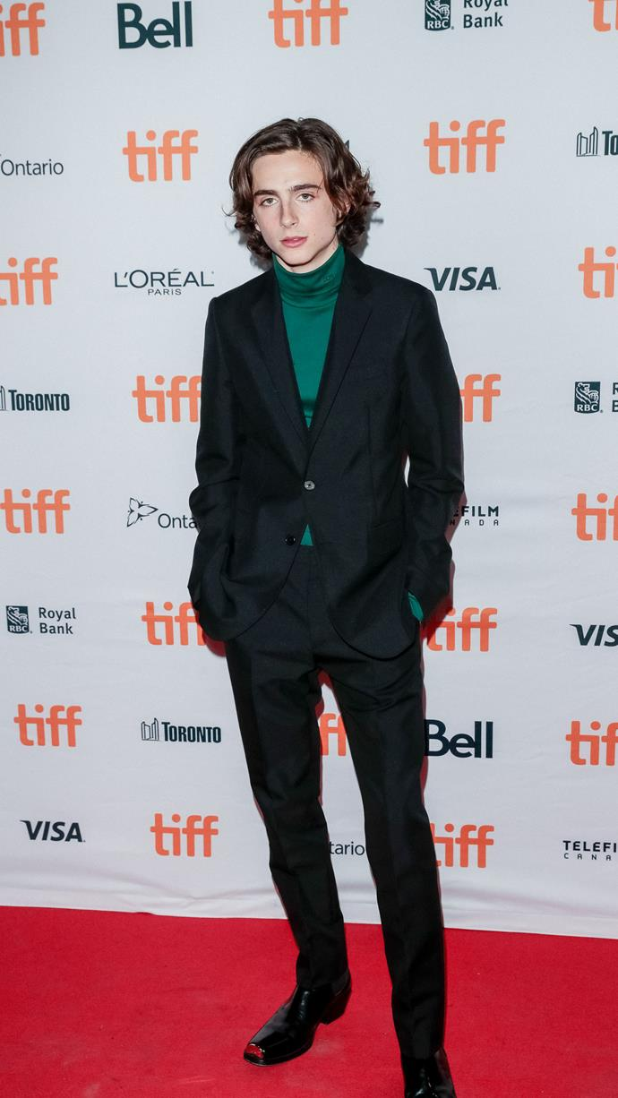 Getting better at this turtleneck thing. Wearing Calvin Klein at the premiere of *Lady Bird* at the Toronto International Film Festival on September 8, 2017.