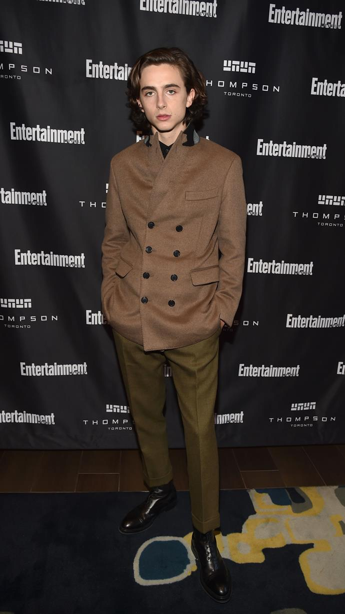 Timmy's wardrobe for *A Rainy Day In New York* (which was filming around this time) seems to have inspired his look for *Entertainment Weekly*'s Must List Party during the Toronto International Film Festival on September 9, 2017. Berluti again.