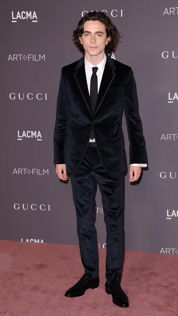 Looking incredibly touchable in Gucci at the LACMA Art + Film gala on November 4, 2017.