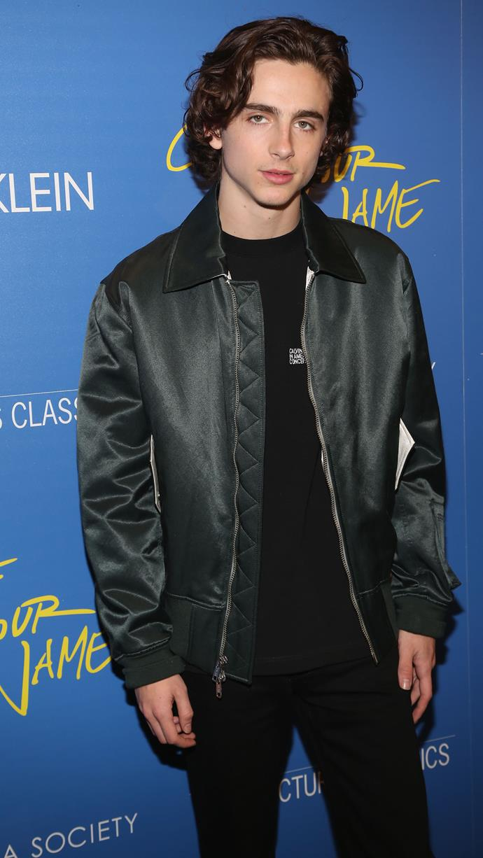 A friendly reminder that we're living in the young Chalamet era. Calvin Klein at a screening of *Call Me By Your Name* on November 16, 2017.