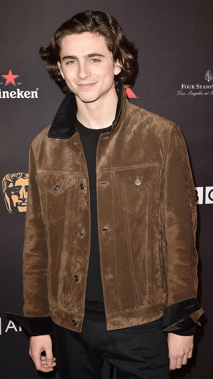 Suede Berluti that harks back to the purple jacket from the early days (read: a year ago). At at the BAFTA Los Angeles Awards Season Tea Party on January 6, 2018.