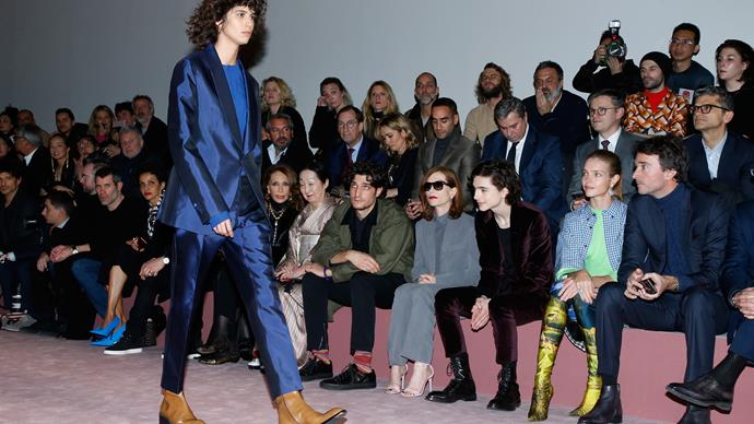 Timothée sits FROW at Berluti A/W 2018...