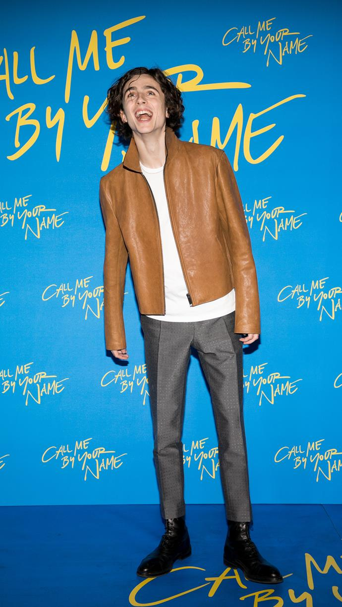 Berluti (again!) at the Paris premiere of *Call Me By Your Name* on January 26, 2018.