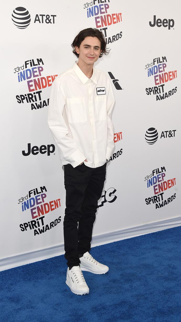 The Off-White look that sparked a thousand petrol station attendant memes at the Film Independent Spirit Awards March 3, 2018.