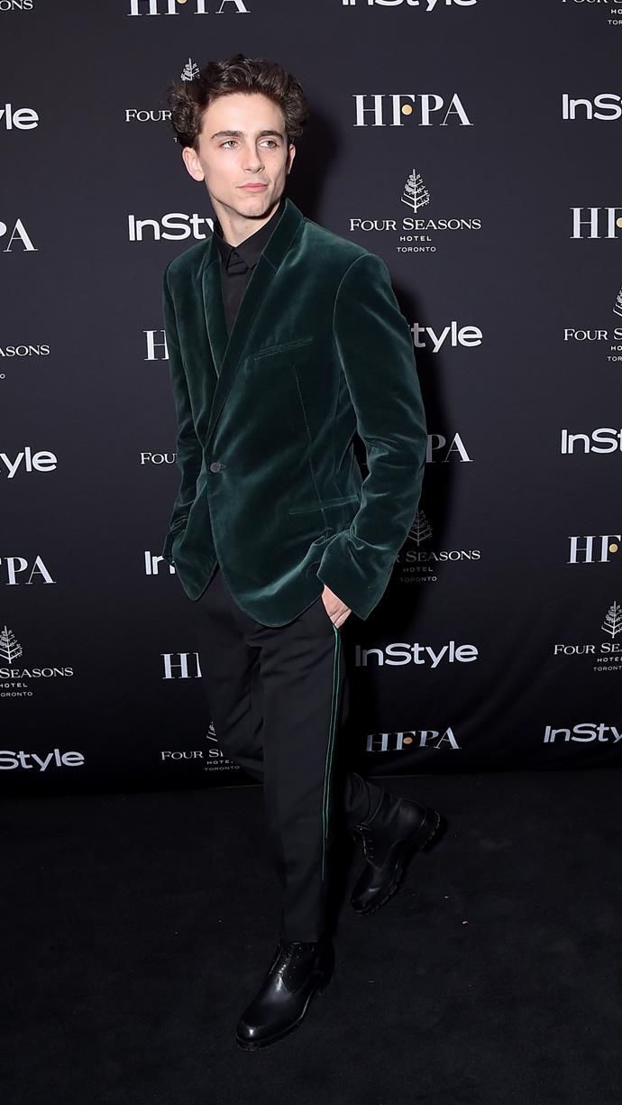 Combining his two loves: Haider Ackermann and velvet at The Hollywood Foreign Press Association and *InStyle* Party during the Toronto International Film Festival on September 8, 2018.