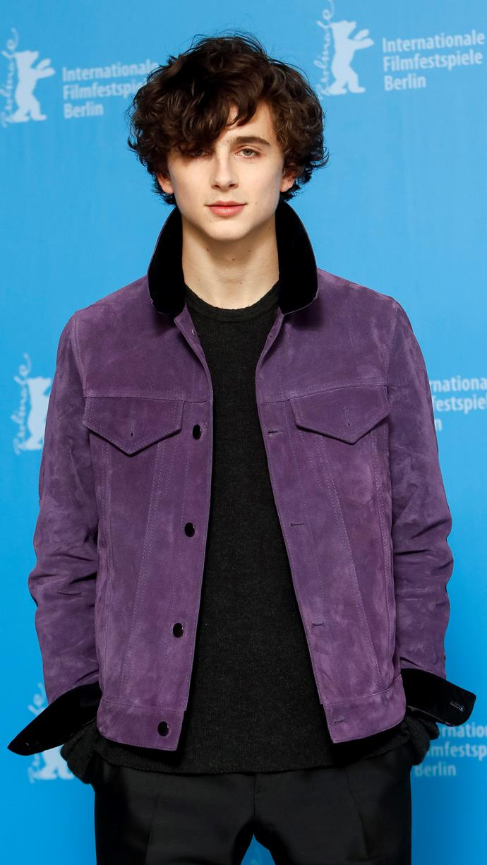 At the Berlinale International Film Festival again, but starting to get famous now. Chalamet wearing Haider Ackermann's first collection for Berluti (A/W 2017) for a *Call Me By Your Name* photo call on February 9, 2017.