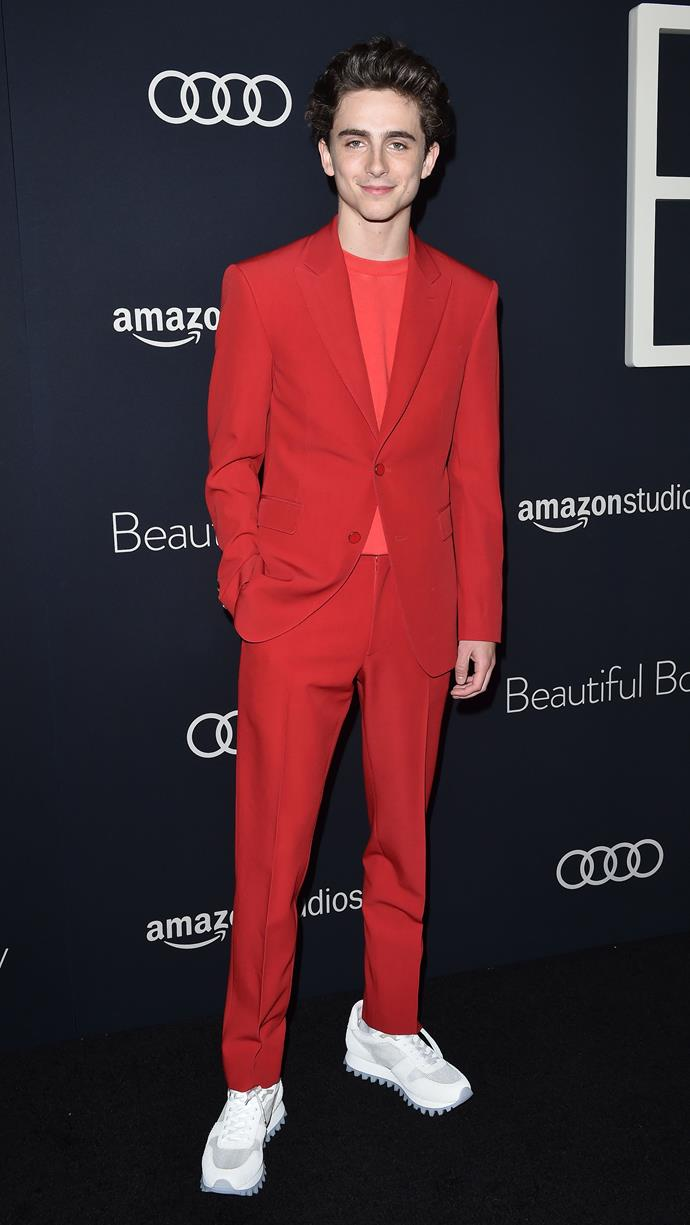Looking very good in red from Virgil Abloh's first collection for Louis Vuitton (S/S 2019). At another screening of *Beautiful Boy* on October 8, 2018.