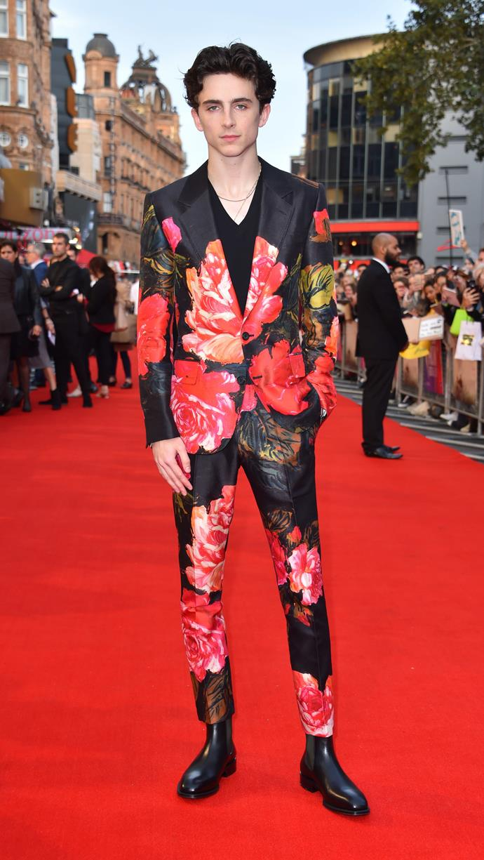 More groundbreaking Alexander McQueen A/W 2018 florals at the premiere of *Beautiful Boy* as part of the BFI London Film Festival October 14, 2018.