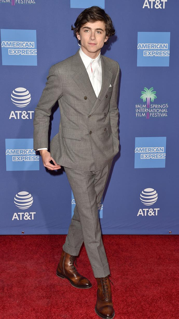 A Thom Browne suit and a comb-over (that bowl cut won't go quietly) at the Palm Springs International Film Festival Awards Gala on January 3, 2019.