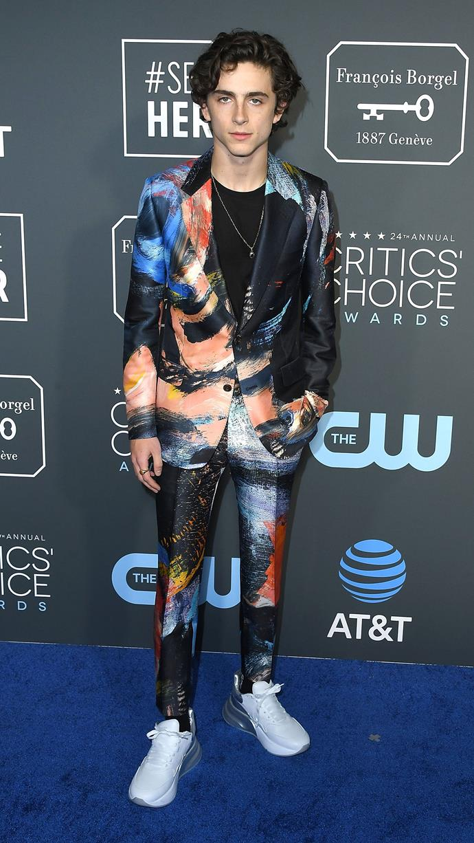Was this Alexander McQueen paint-swipe suit a precursor for the S.R. STUDIO. LA. CA. overalls? At the Critics' Choice Awards on January 13, 2019.