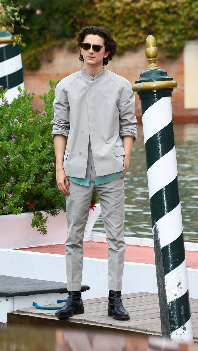 Timmy wore this Haider Ackermann S/S 2020 look before it appeared on the runway. It was the first of many HA ensembles on *The King* tour, beginning with the Venice Film Festival on September 2, 2019.