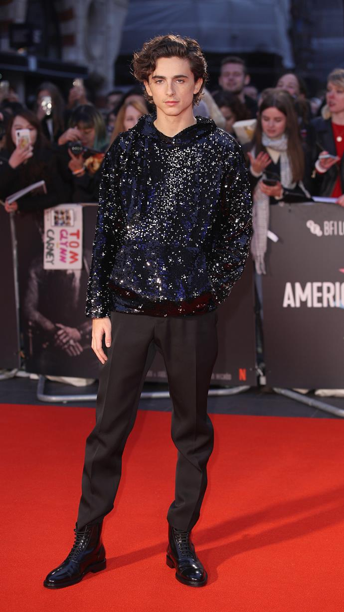 The sequin Louis Vuitton jumper that was the result of texts between Timothée and the brand's menswear artistic director, Virgil Abloh. At the UK premiere of *The King* as part of the BFI London Film Festival on October 3, 2019.