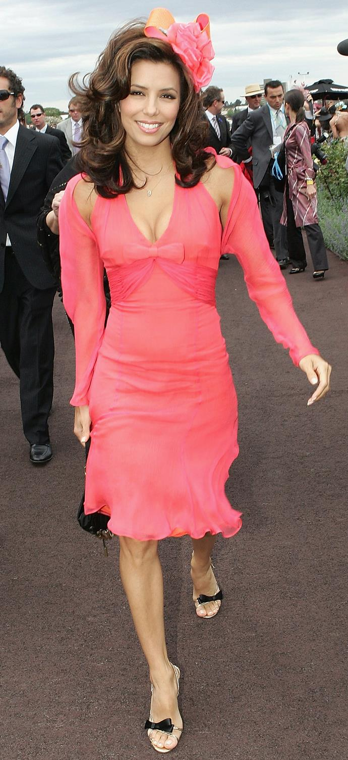 Eva Longoria in Alex Perry at Derby Day in 2005.