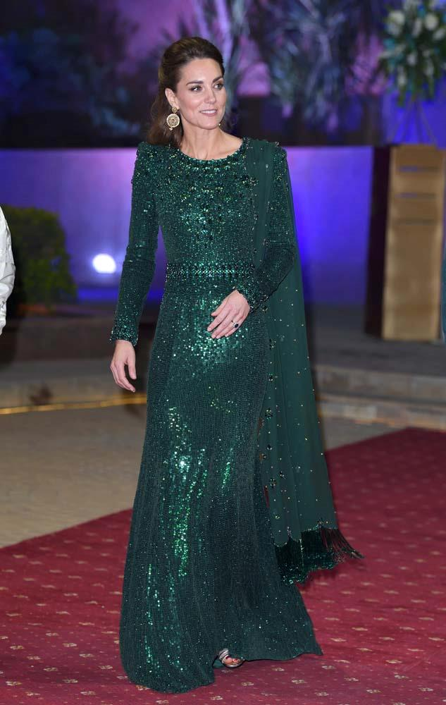 In a green Jenny Packham gown in Islamabad.
