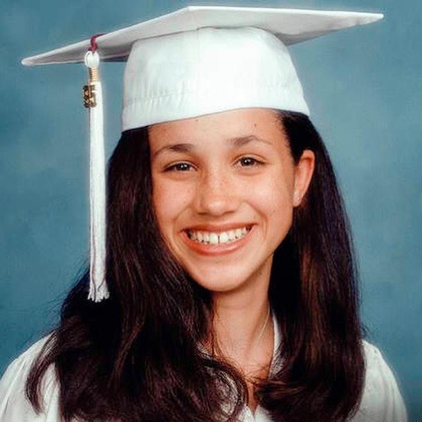 In her school portrait.