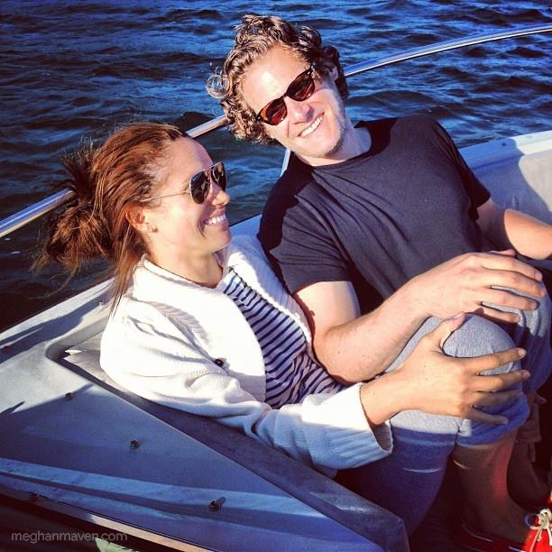 With her ex-husband Trevor Engelson.