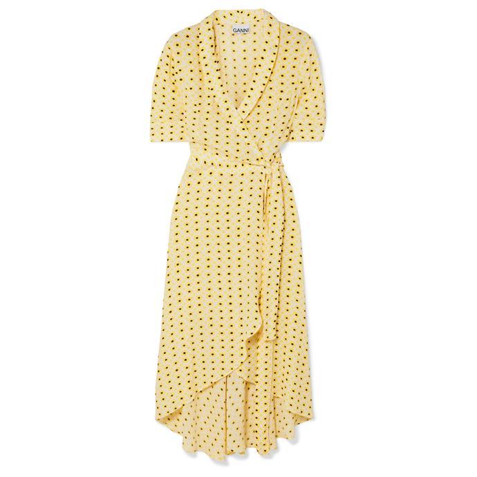 "***Dress code: Casual***<br><Br> Dress by Ganni, $242 at [NET-A-PORTE](https://www.net-a-porter.com/au/en/product/1154130/ganni/floral-print-crepe-de-chine-wrap-midi-dress|target=""_blank""|rel=""nofollow"")R."