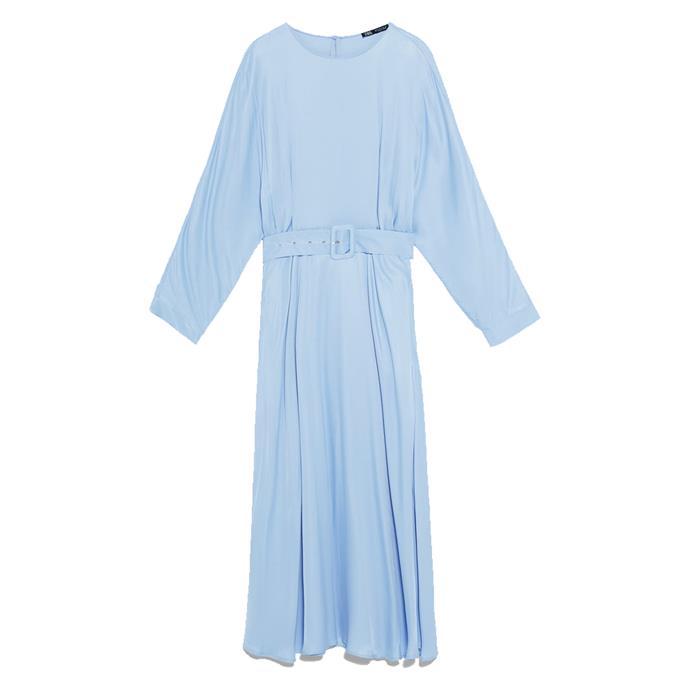 "***Dress code: Casual***<br><Br> Dress, $99 at [ZARA](https://www.zara.com/au/en/satin-dress-with-belt-p07385314.html?v1=23752660&v2=1277467|target=""_blank""|rel=""nofollow"")."