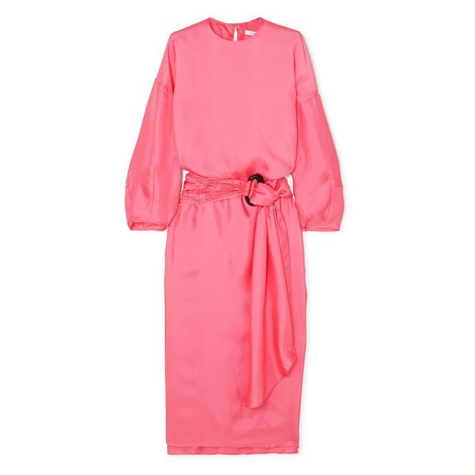 "***Dress code: Cocktail***<br><Br> Dress by Nackiyé, $977 at [NET-A-PORTER](https://www.net-a-porter.com/au/en/product/1186009/nackiye/topkapi-belted-silk-twill-midi-dress|target=""_blank""|rel=""nofollow"")."