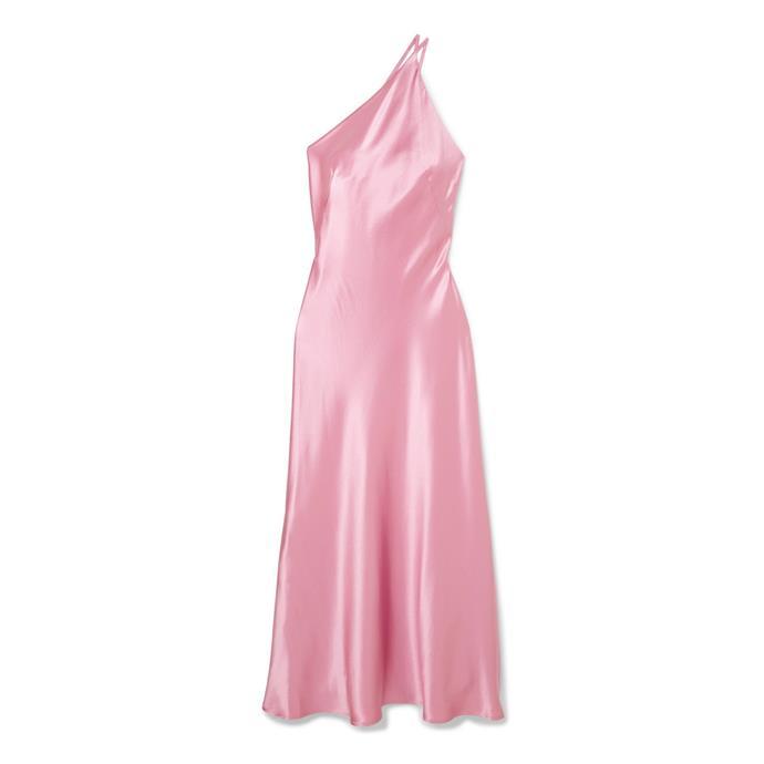 "***Dress code: Black tie***<br><Br> Dress by Galvan, $1,900 at [NET-A-PORTER](https://www.net-a-porter.com/au/en/product/1161908/galvan/roxy-one-shoulder-silk-satin-maxi-dress|target=""_blank""|rel=""nofollow"")."